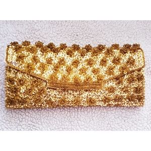 Vintage handmade beaded and sequin clutch